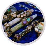 Sacred Gemstones Energy Amulets Crystal Balls Magic Wands Round Beach Towel