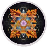 Sacred Geometry 701 Round Beach Towel