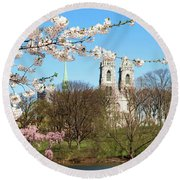 Sacred Heart And Branch Brook Cherry Blossoms  Round Beach Towel
