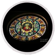 Sacred Heart Of Jesus Stained Glass Window Round Beach Towel