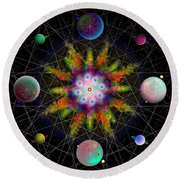 Sacred Planetary Geometry - Dark Red Atom Round Beach Towel