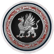 Sacred Silver Griffin On Blue Leather Round Beach Towel