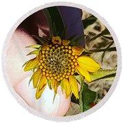 Sacred Sunflower Round Beach Towel