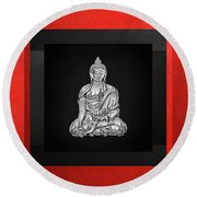 Sacred Symbols - Silver Buddha On Red And Black Round Beach Towel