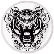 Sacred Tiger Round Beach Towel
