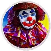 Sad Clown Round Beach Towel