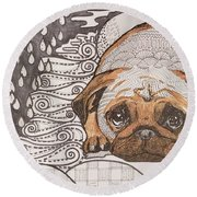 Sad Pup Round Beach Towel