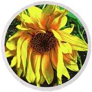 Sad Sunflower Round Beach Towel