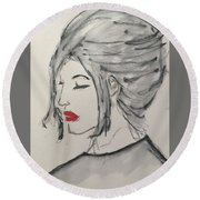 Sad Woman  Round Beach Towel