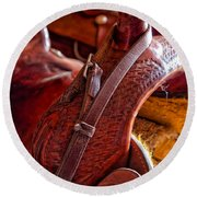 Saddle In Tack Room Round Beach Towel