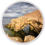 Saddle Rocks At High Tide Round Beach Towel
