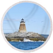 Saddleback Ledge Light Round Beach Towel