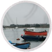 Safe Harbour On A Murky Day Round Beach Towel