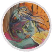 Safe In The Arms Of Grandma Round Beach Towel