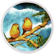 Saffron Finch Birds #88 Round Beach Towel