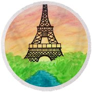 Saffron Sunset Over Eiffel Tower In Paris-watercolour  Round Beach Towel