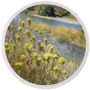 Sage Along The River Round Beach Towel