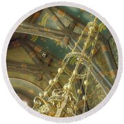 Sage Chapel Ceiling And Light Round Beach Towel