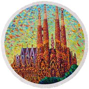 Sagrada Familia Barcelona Spain Round Beach Towel
