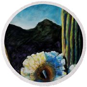 Saguaro In Bloom Round Beach Towel