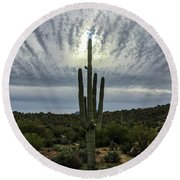 Saguaro Sun Break Clouds Round Beach Towel