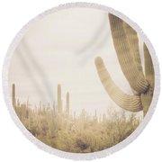 Saguaro Sunrise Round Beach Towel