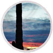Saguaro Sunset Portrait Round Beach Towel