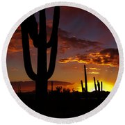 Saguaro Sunset Silhouette #2 Round Beach Towel