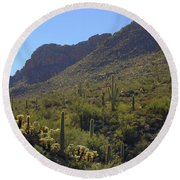 Saguaros And Other Greenery  Round Beach Towel