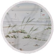 Sail Boat And Sea Oat 1 Round Beach Towel