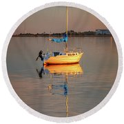 Sail Boat In Roanoke Sound 1x2 Ratio Photo Painting Img_3969 Round Beach Towel