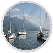 Sail Boats, Lake Como, Italy Round Beach Towel