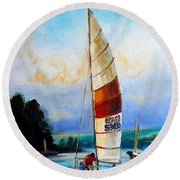 Sail Boats On The Lake Round Beach Towel