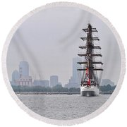 Sail Boston 2017 Union And Spirit Of South Carolina Round Beach Towel