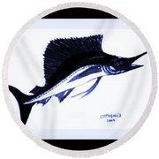 Sail Fish In Black And White Watercolor Round Beach Towel