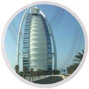 Sail-shaped Silhouette Of Burj Al Arab Jumeirah  Round Beach Towel