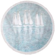 Sailaway By V.kelly Round Beach Towel
