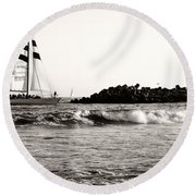 Sailboat And Lighthouse 2 Round Beach Towel