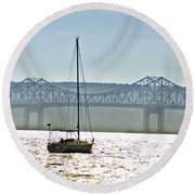 Sailboat And The Tappan Zee Bridge Round Beach Towel