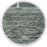 Sailboat And Waves, Piscataqua River, Maine 2004 Round Beach Towel