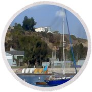 Sailboat At Anchor In Harbor Round Beach Towel