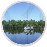 Sailboat At Dock Florida Round Beach Towel