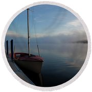 Sailboat At Rest Round Beach Towel
