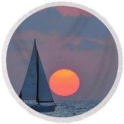 Sailboat At Sunset  Round Beach Towel