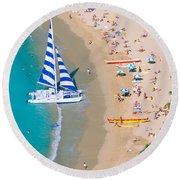 Sailboat At Waikiki Round Beach Towel