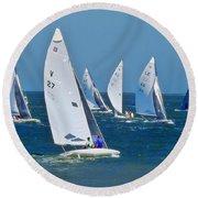 Sailboat Championship Racing 2 Round Beach Towel