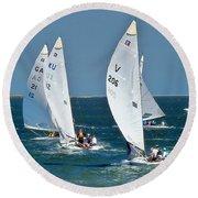 Sailboat Championship Racing 5 Round Beach Towel