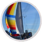 Sailboat In Seattle Round Beach Towel