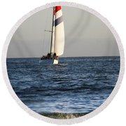 Sailboat Coming Ashore 1 Round Beach Towel