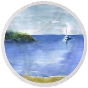 Sailboat In Still Waters Round Beach Towel